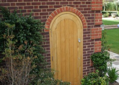 Round top Oak boarded door and frame .SASPOONER