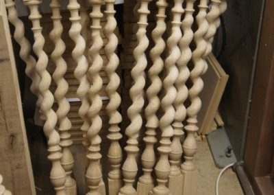 Oak spindles for the Grade 1 staircase project, carving the barley twists.  SASPOONER
