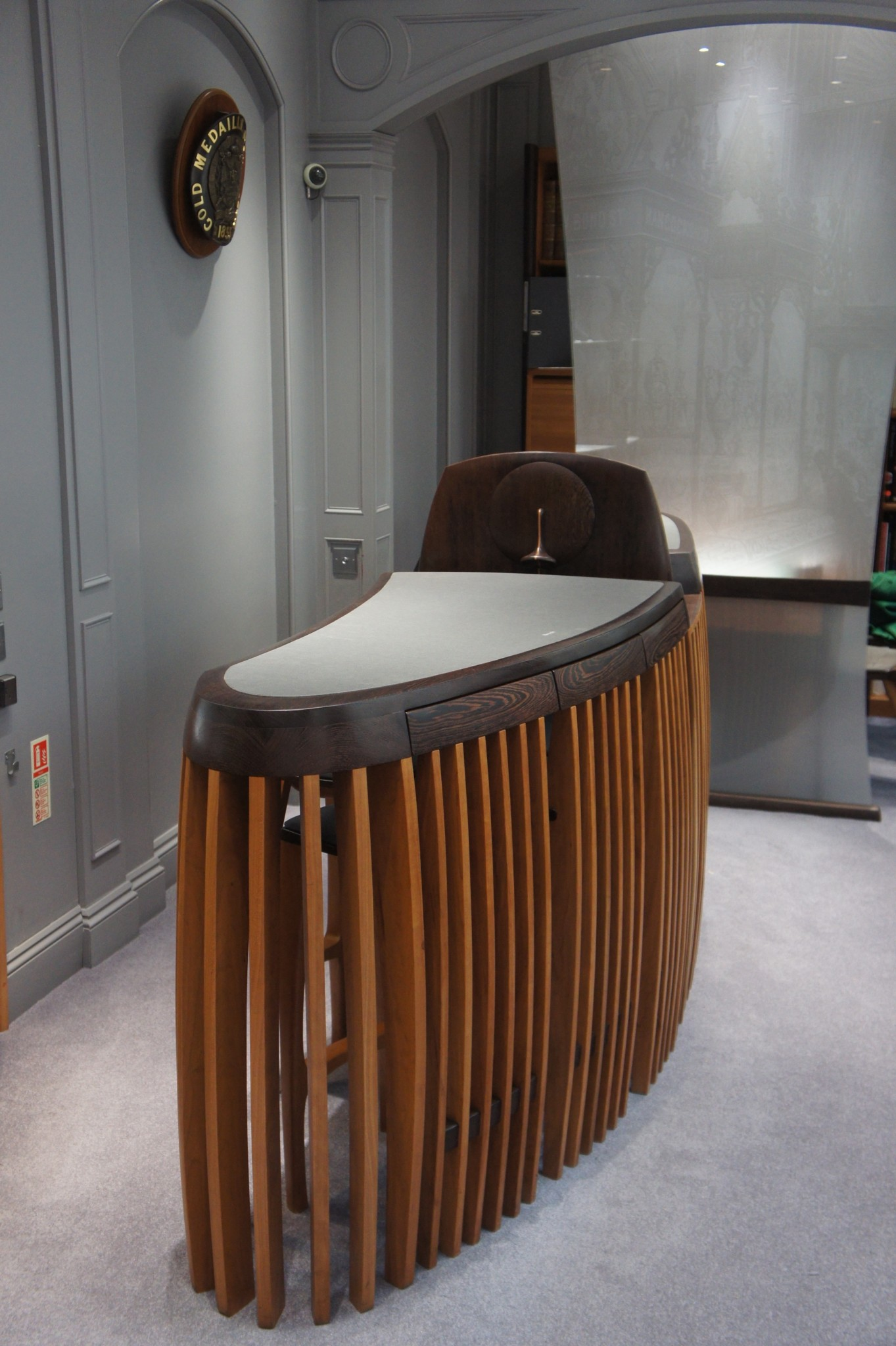 Wenge And Cherrywood Retail Sales Desk With Chairs In The Closed Position.  SASPOONER