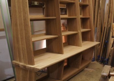 The fully assembled bookcase, final finishing before polishing.  SASPOONER