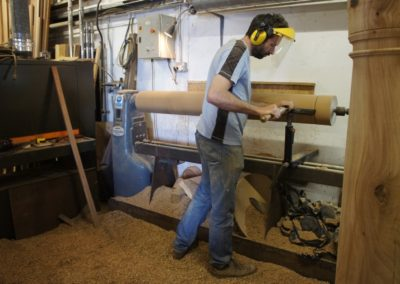 Stephen turning the Oak post for the large roof trusses.  SASPOONER