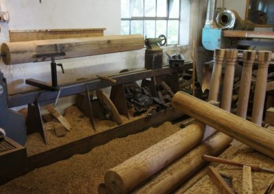 Turning the Oak post for the large roof trusses.  SASPOONER