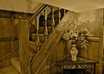 William and Mary Period Oak Staircase and Panelling detailing a Wreath Carved Handrail and period turn spindles SASPOONER