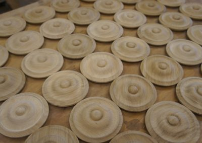 Turned Oak staircase buttons.  SASPOONER