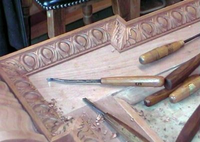 Mahogany Fireplace surround being carved ,see Fireplace page .SASPOONER